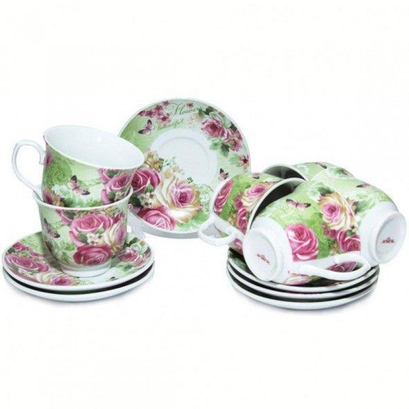 Набор чайный 220мл Прекрасные цветы 12пр фарфор