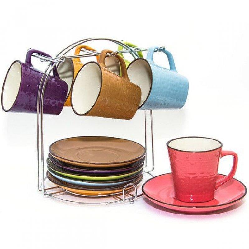 Набор чайный 220мл 12пр керамика метал подставка
