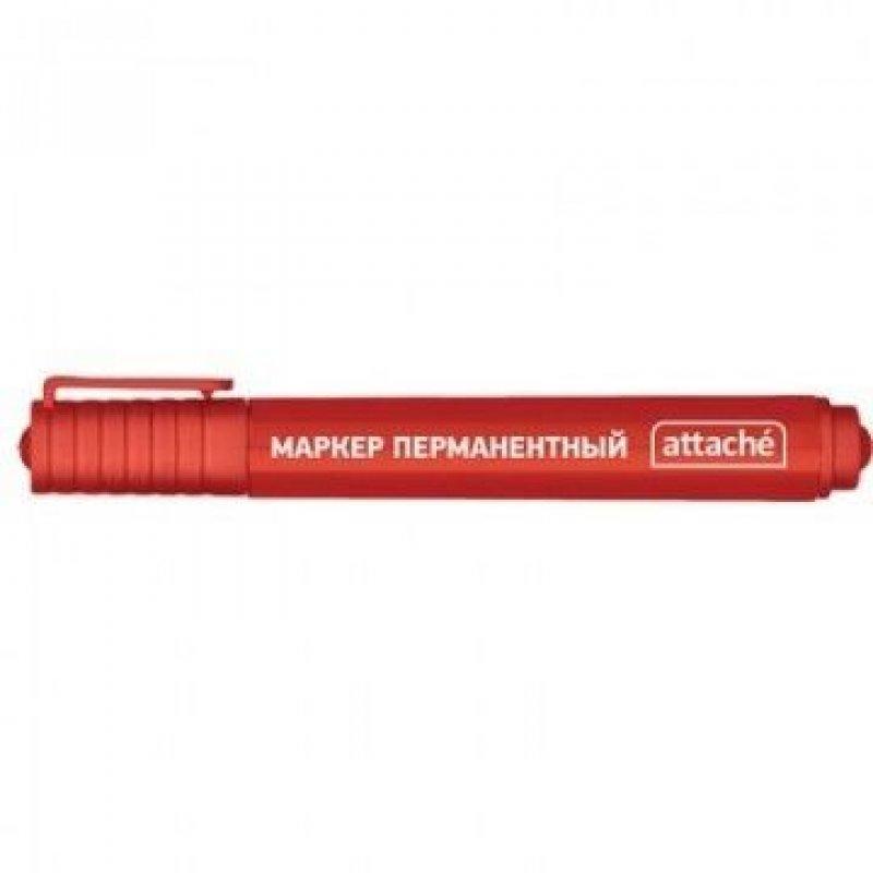 Маркер перманентный Attache 2-3мм круглый наконечник красный