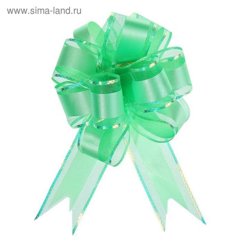 Бант-шар №5 Зеленый перламутровая полоска