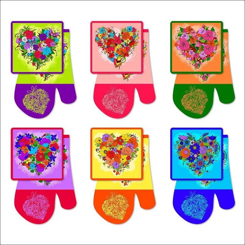 Набор кухонный Цветочное сердце варежка