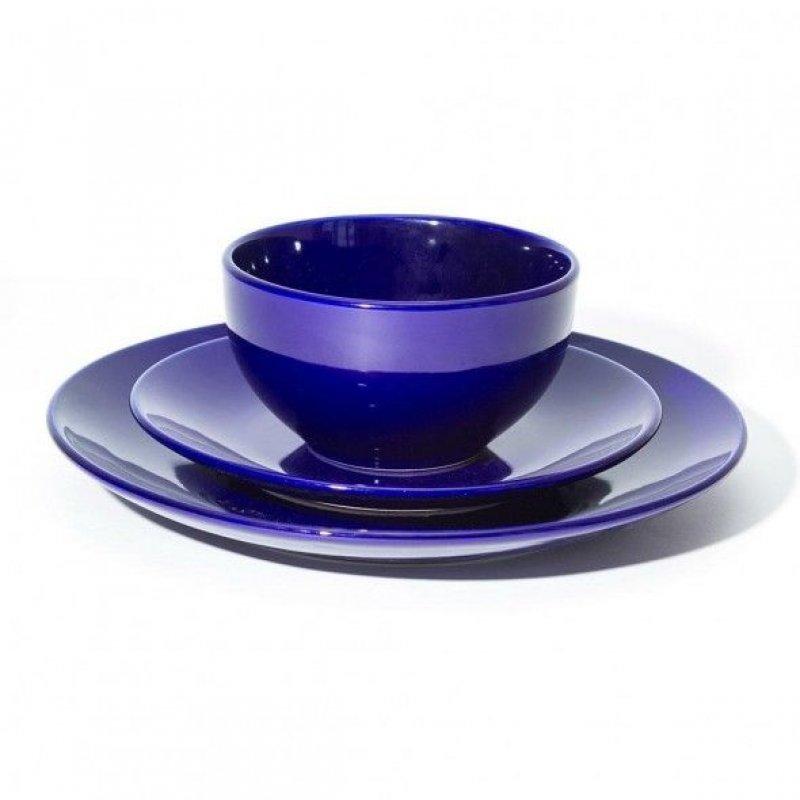 Набор столовой посуды 3пр синий тарелка 2шт салатник 1шт