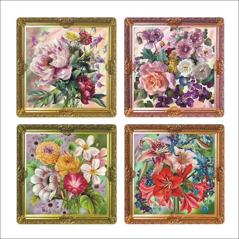 Салфетка 31x31см Купеческие цветы
