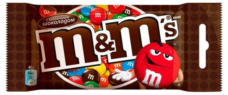 Драже M&M 45г молочный шоколад/орех