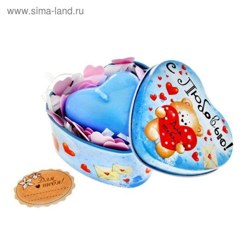 Набор свеча-сердце+мыльные конфетти в шкатулке