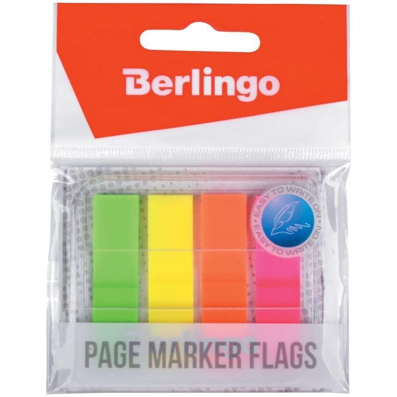 Закладки самоклеящиеся 45х12мм Berlingo Неон пластиковые 4цвета по 20л в диспенсере