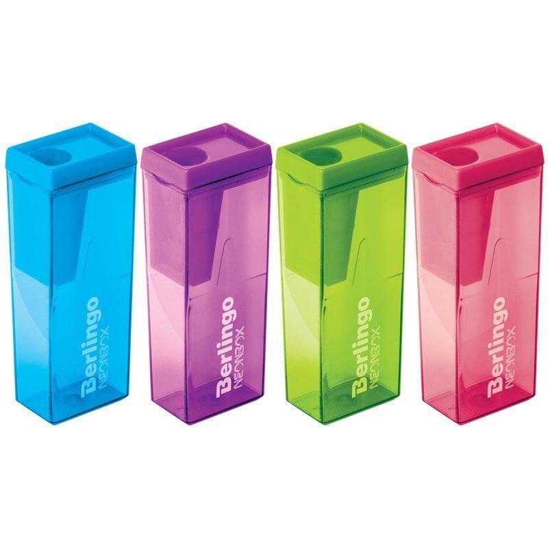 Точилка 1 отверстие Berlingo NeonBox с контейнером пластиковая ассорти