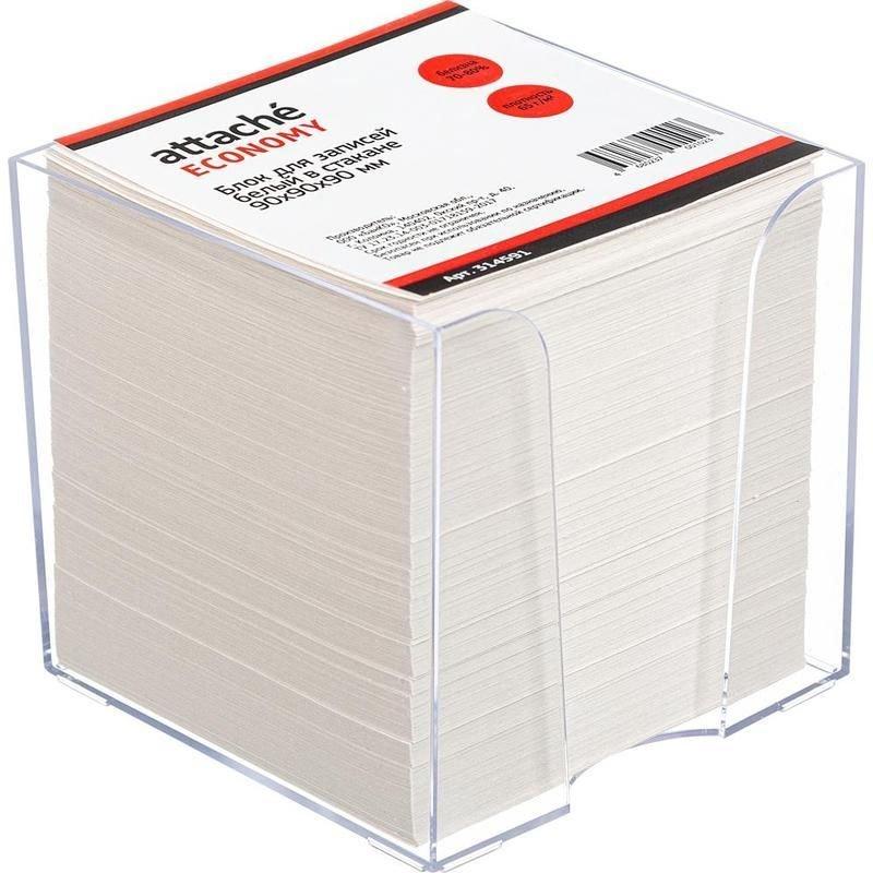 Блок для записей 90х90х90мм Attache Economy белый в прозрачном пластбоксе