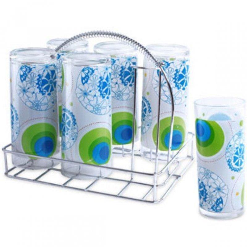 Набор стаканов 250мл Бриз 6шт стекло мет подставка