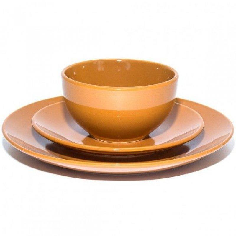 Набор столовой посуды 3пр коричневый тарелка 2шт салатник 1шт