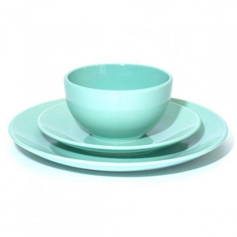 Набор столовой посуды 3пр зеленый тарелка 2шт салатник 1шт