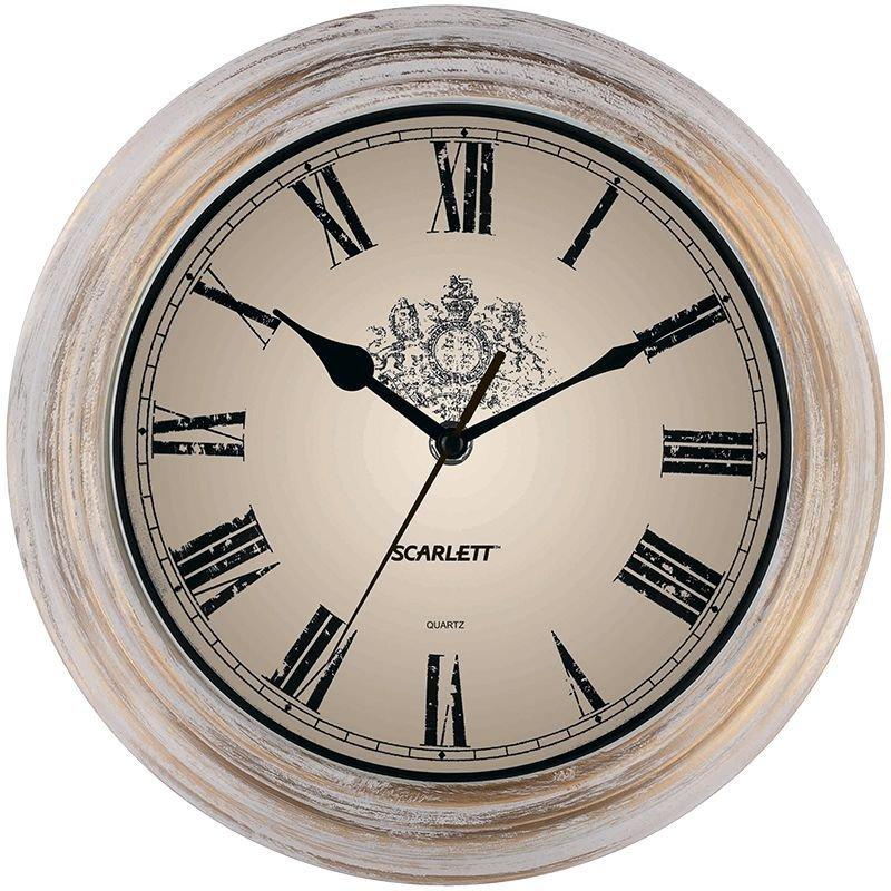 Часы настенные Scarlett SC-27B круг бело-золотые 280 мм