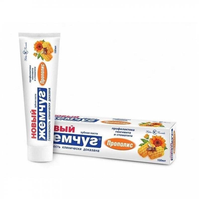 Зубная паста Новый жемчуг 125мл прополис/кальций пл туба в футляре НК