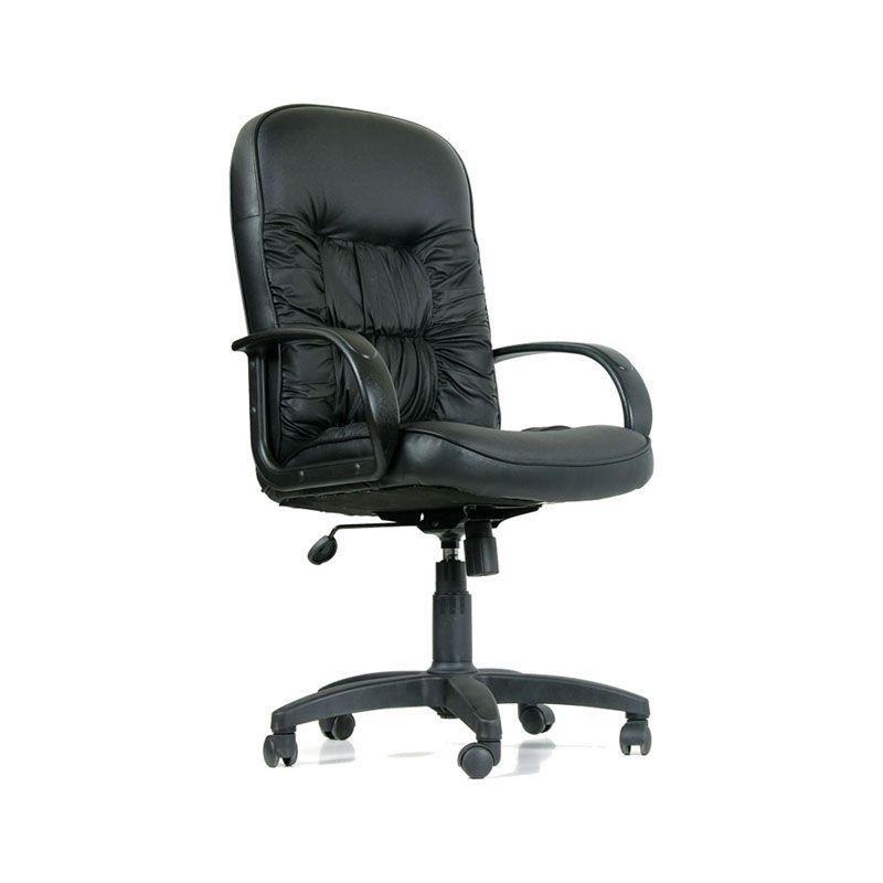 Кресло руководителя Chairman 416 PL с подлокотниками кожа черное