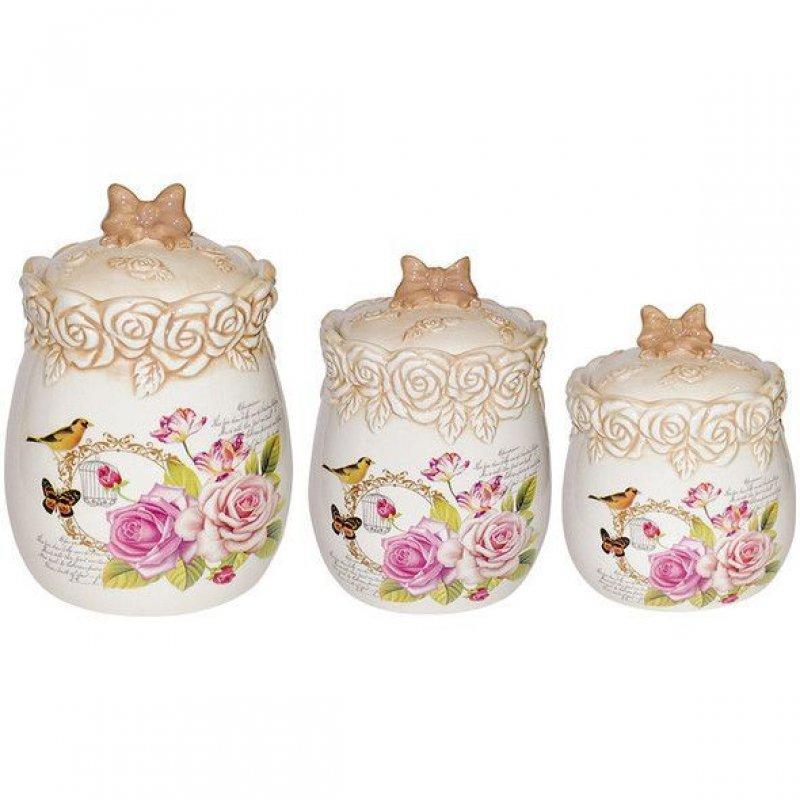 Набор для сыпучих продуктов Жозефина 3 предмета (доломитовая керамика)