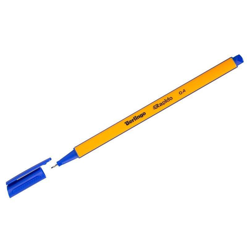 Ручка капиллярная Berlingo Rapido 0,4мм трехгранный корпус синяя