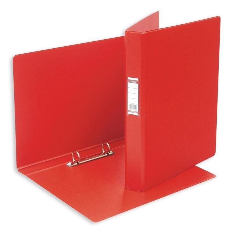 Папка на 2-х кольцах картон/ПВХ 35мм Bantex красная