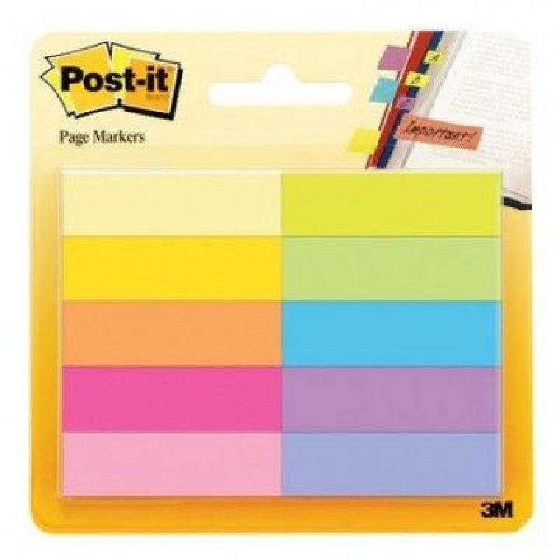 Закладки самоклеящиеся 44,5х12,7мм Post-it бумажные 10цветов по 50л