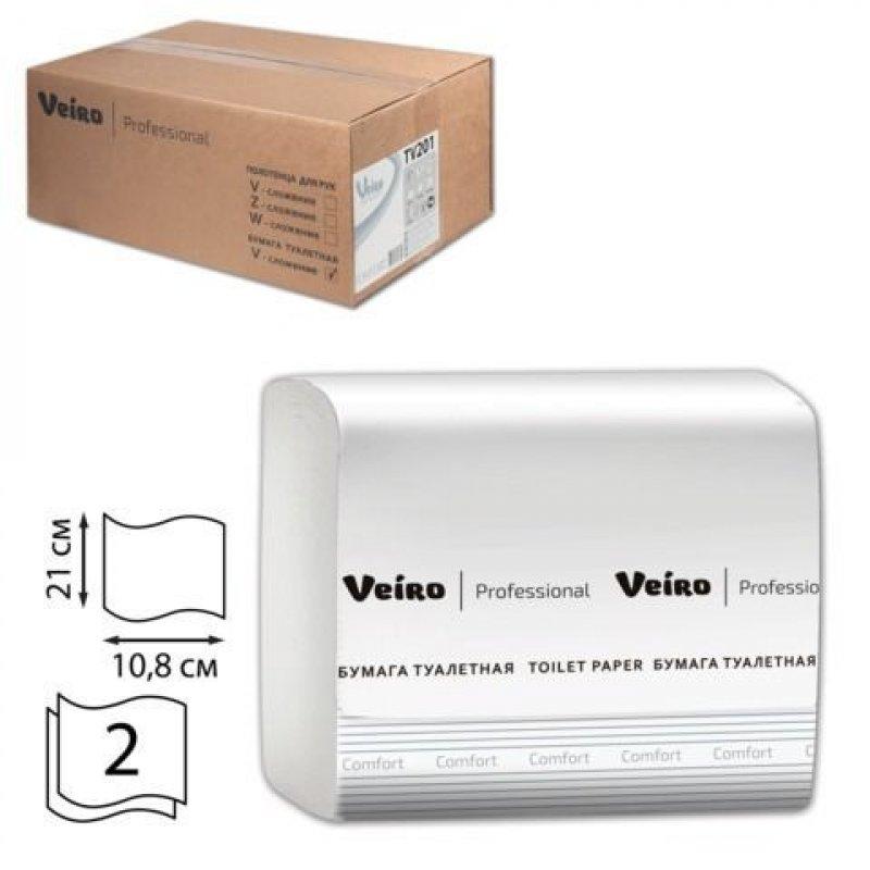Бумага туалетная Vеiro Professional  Comfort 2-сл 250л 30шт/уп белая