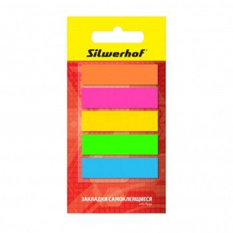 Закладки самоклеящиеся 44х12мм Silwerhof пластиковые 5цветов по 20л