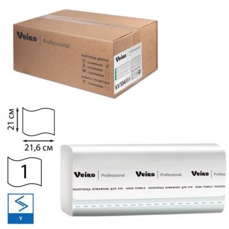 Полотенце бумажное VEIRO 1-сл V-слож 210х216мм 250л белое 20шт/уп Basic белое