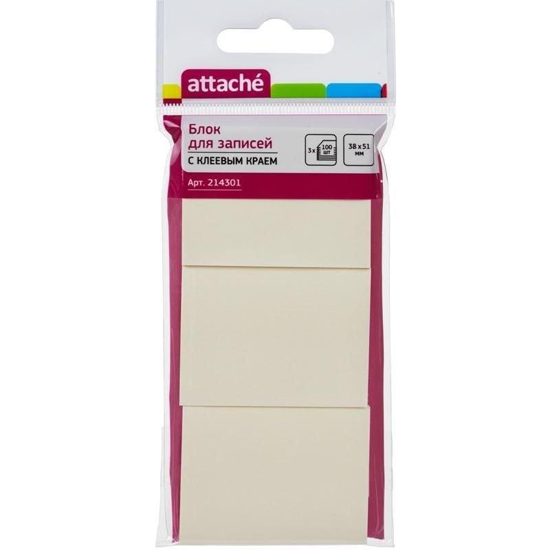 Блок для записей самоклеящийся 38х51мм Attache 100л пастель желтый комплект 3шт