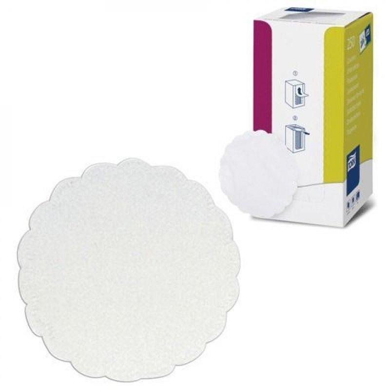 Салфетки 250л Tork d-9см 8сл бумажная ажурная зубчатый край белые