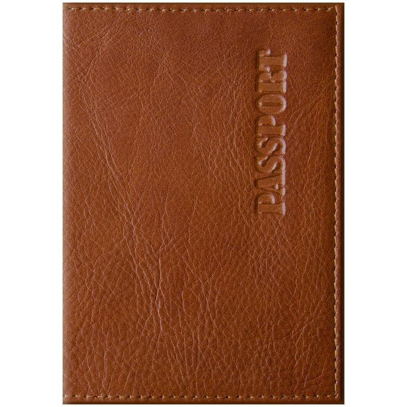 Обложка для паспорта OfficeSpace Элегант кожа светло-коричневая