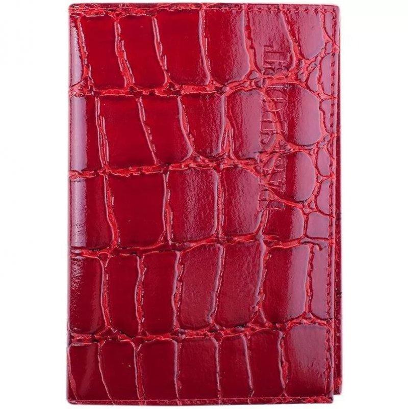 Обложка для паспорта OfficeSpace кожа бордо Croc