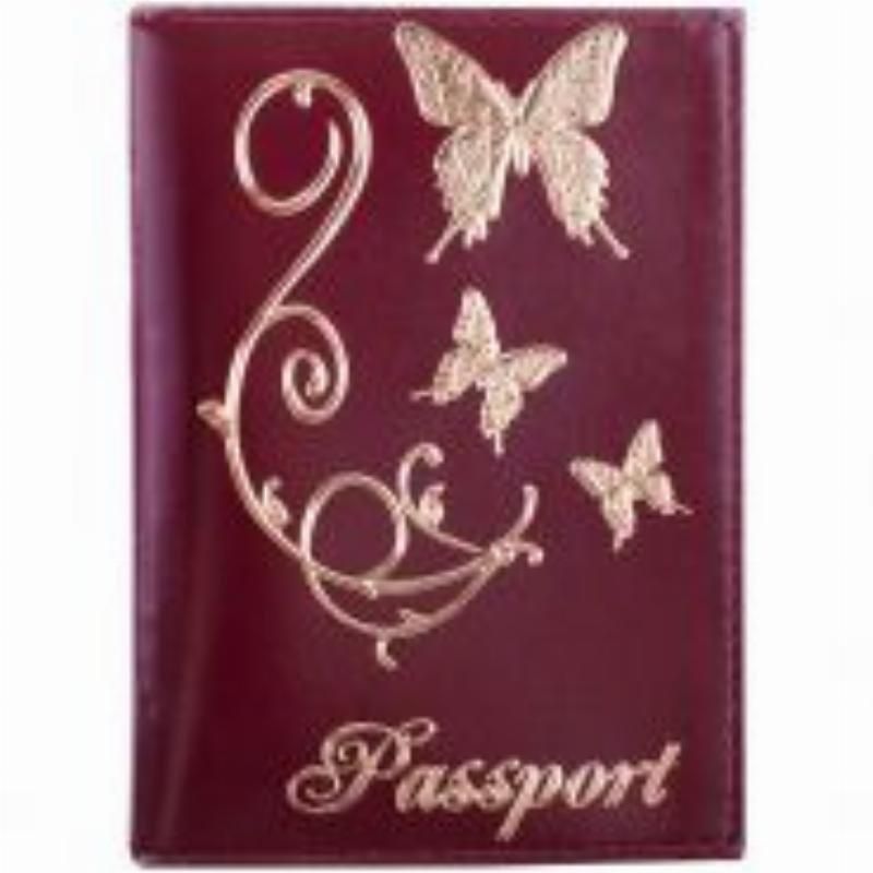 Обложка для паспорта OfficeSpace кожа красный тиснение золото бабочки