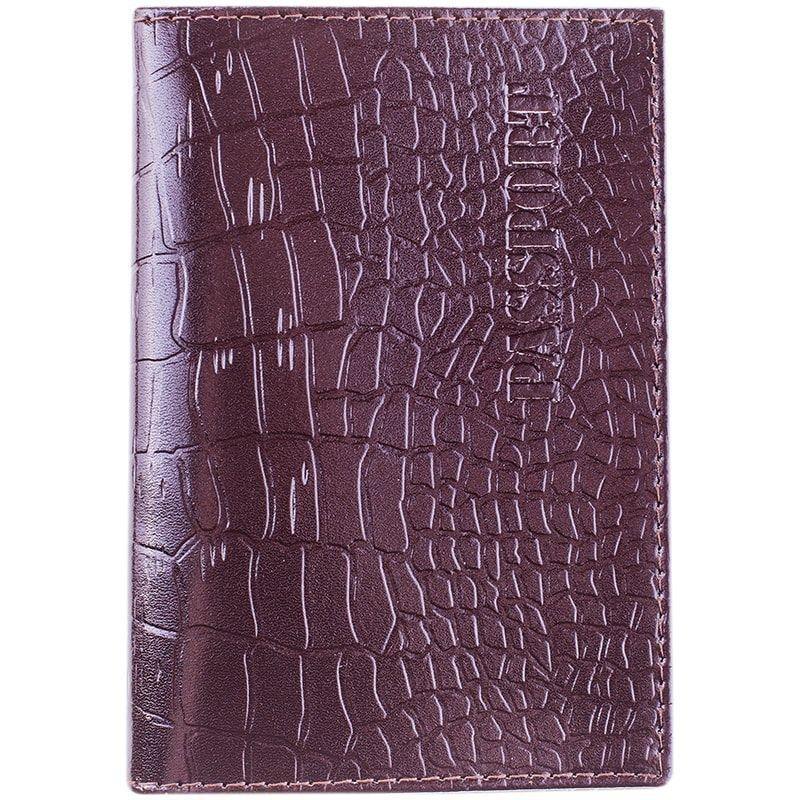 Обложка для паспорта OfficeSpace кожа темно-коричневый крокодил