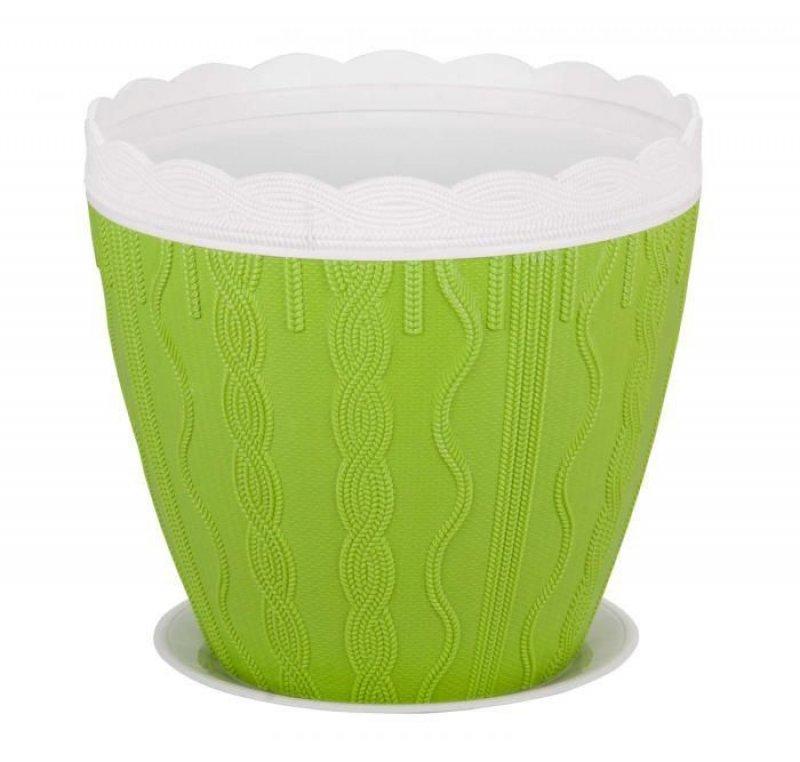 Горшок-кашпо Меланж 3,5л с поддоном зелёный