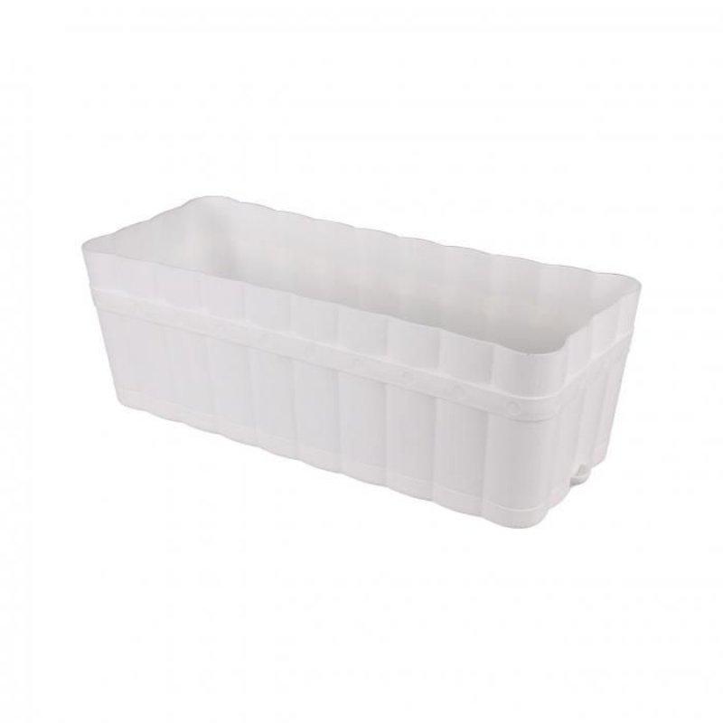 Ящик для цветов 6л Изюминка с поддоном белый