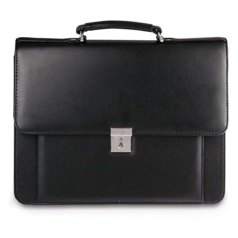 Портфель Алекс Проект 38×28,5×10 см искусственная кожа 2 отделения замок с ключом черный