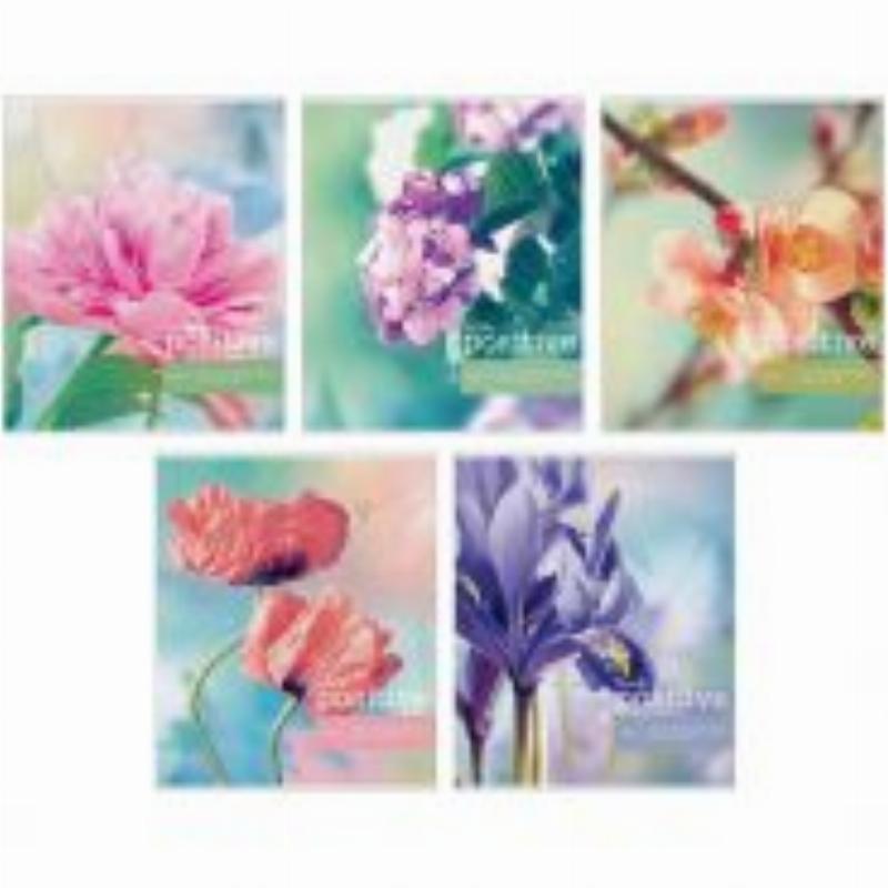 Тетрадь 48л Цветы Think positive клетка