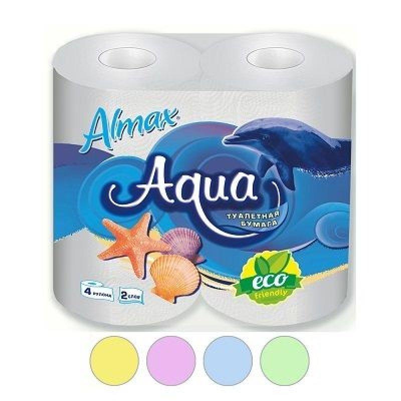 Бумага туалетная Almax Aqua Eco 2-сл 4 шт/уп голубая
