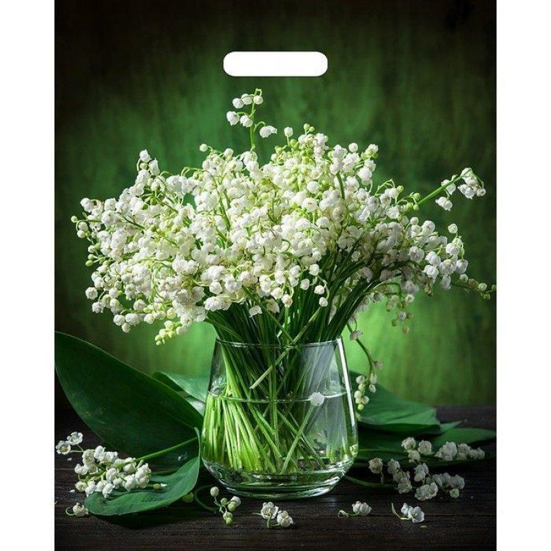 Пакет прорезн ручка 38х45см 60мкм Бронз Благородные цветы