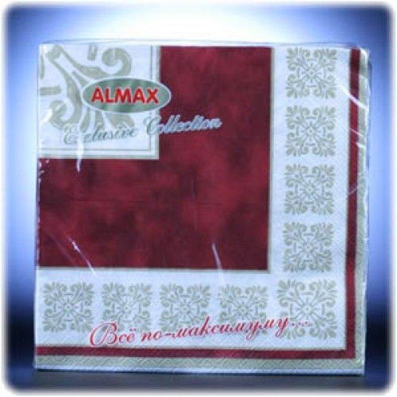 Салфетки 20л Almax Color Collection 33х33см 3сл Verona бордо