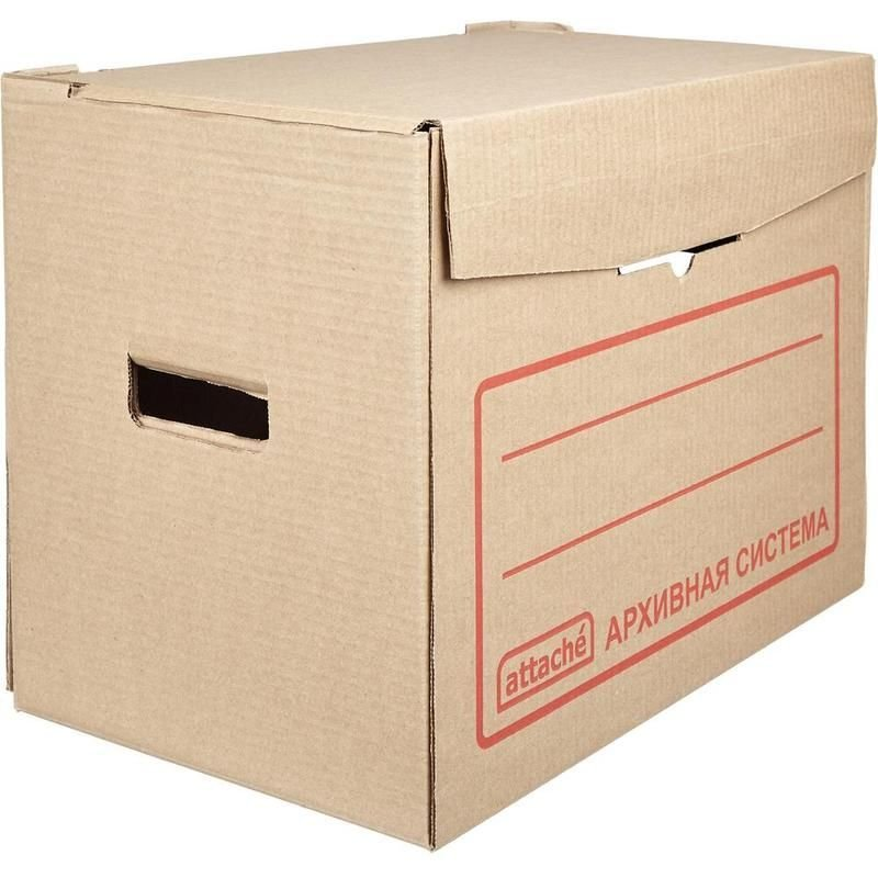 Короб архивный с крышкой 400х330x266мм гофрокартон бурый Attache