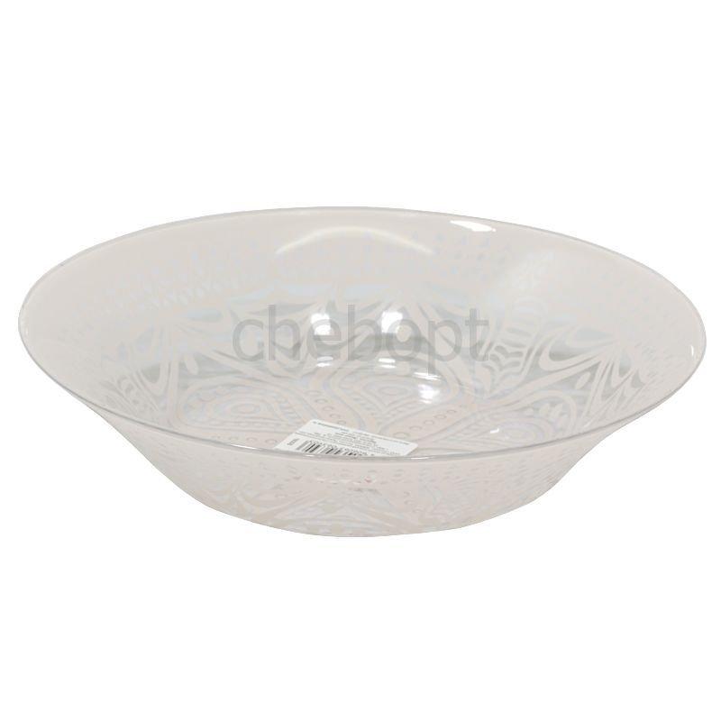 Тарелка 220мм Бохо розовая глубокая стекло