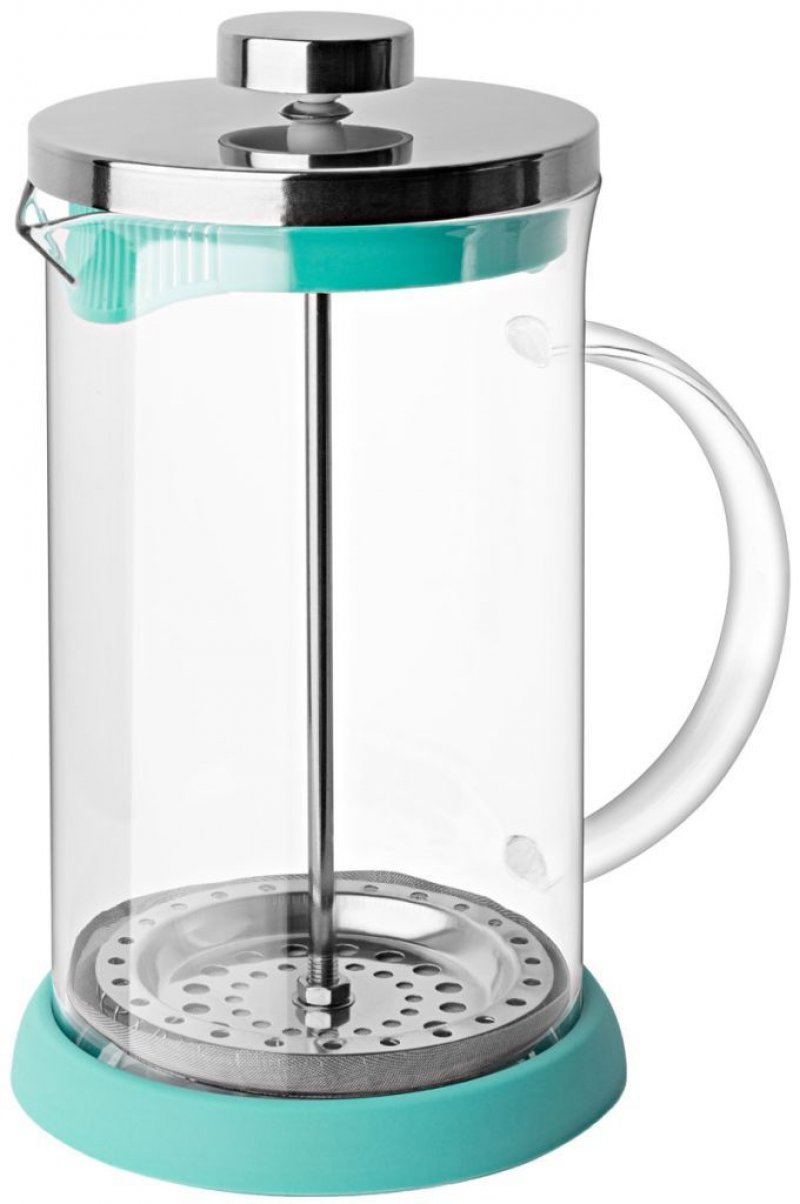 Чайник заварочный 600мл френч-пресс стекло бирюзовый