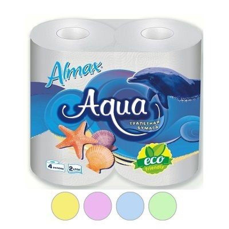 Бумага туалетная Almax Aqua Eco 2-сл 4 шт/уп зелёная