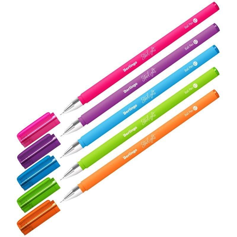 Ручка шариковая Berlingo Starlight 0,7мм прорезиненный корпус ассорти игольчатый наконечник синяя