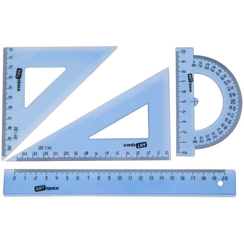 Набор чертежный средний Art Space треуг-2шт лин-20см транспортир