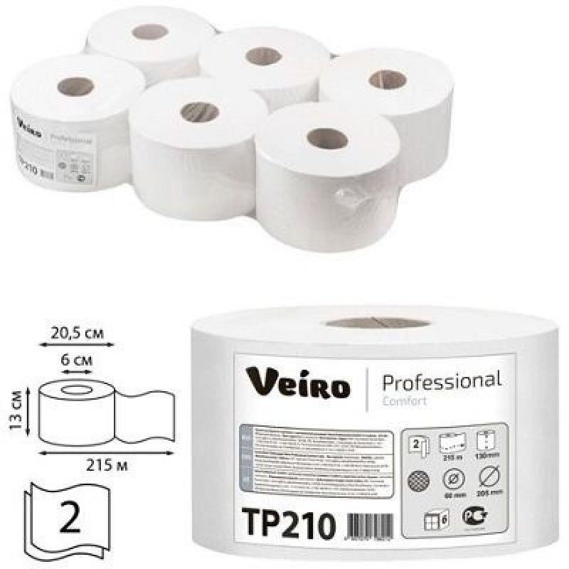 Бумага туалетная VEIRO Comfort 2-сл 215м белая тиснение