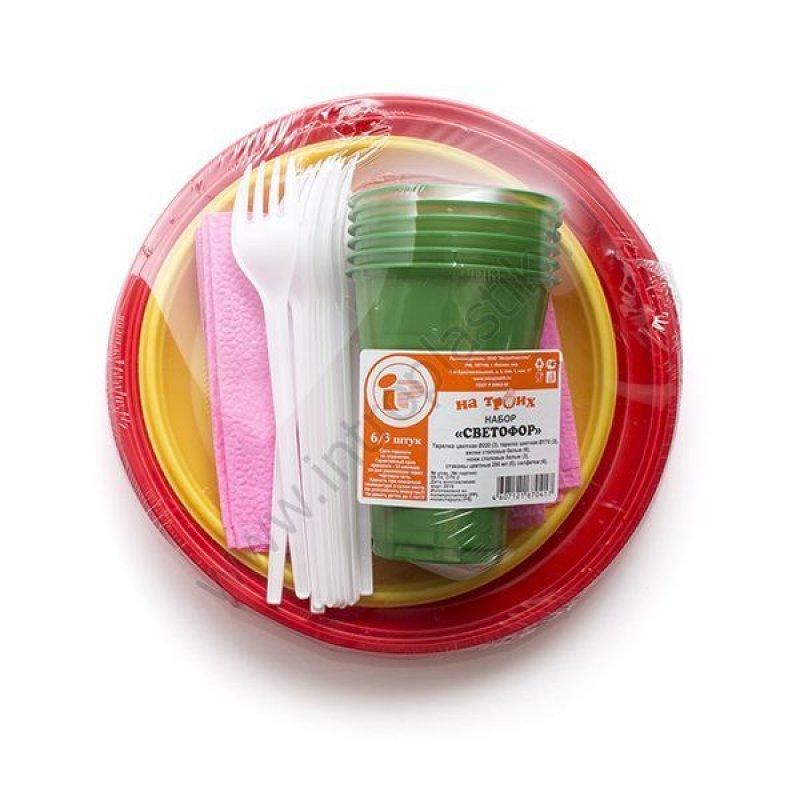Набор посуды Светофор 6 персон пластик цветной