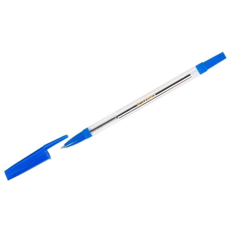 Ручка шариковая OfficeSpace 1мм рельефный держатель прозрачный корпус синяя