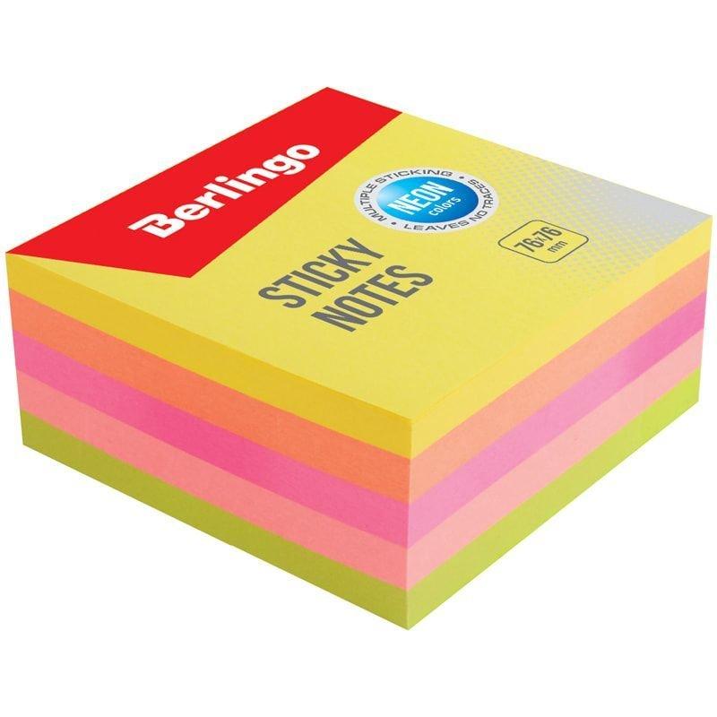Блок для записей самоклеящийся 76х76мм Berlingo 400л неон 5 цветов