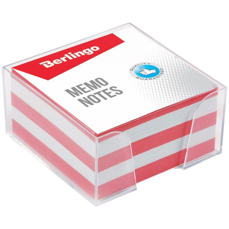 Блок для записей 90х90х45мм Berlingo Standard цветной прозрачный пластиковый бокс