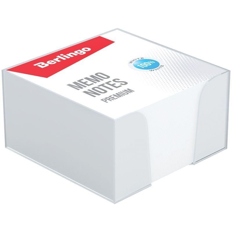 Блок для записей 90х90х45мм Berlingo Premium белый прозрачный пластиковый бокс